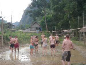 Laos - Vang Vieng - Mud Volleyball