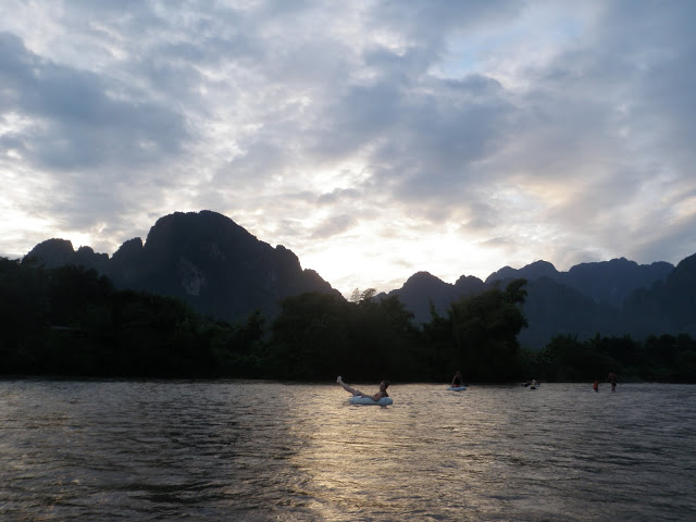 Laos - Vang Vieng - Tubing at Sunset