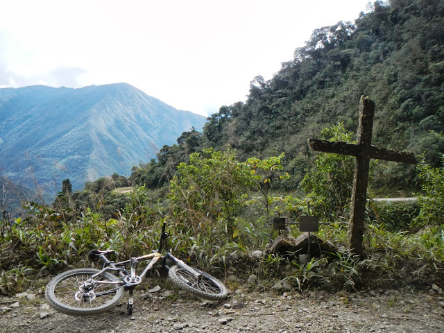 One of many crosses marking graves on the Death Road.