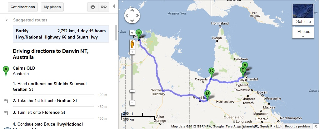 It's a very long drive to Darwin.