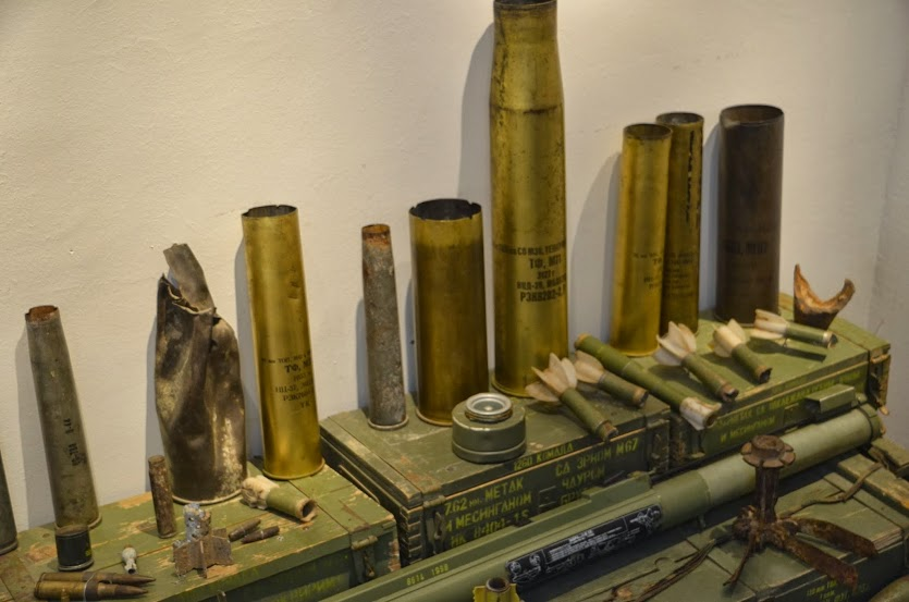 Artillery shells from the war on display in the museum.