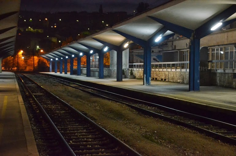 The rail station in the early morning hours.