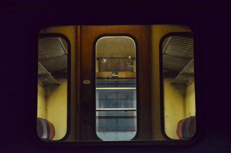 A train cabin.