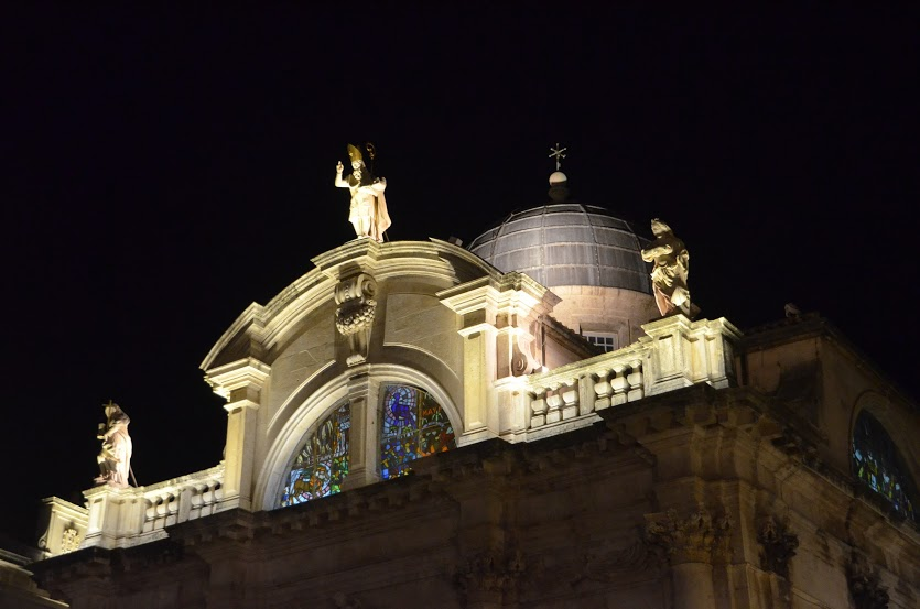 Many buildings are lit up at night to show their architectural highlights.