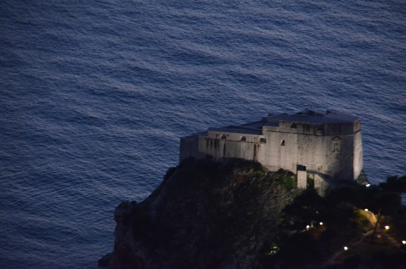 The seaside fortress at dusk.