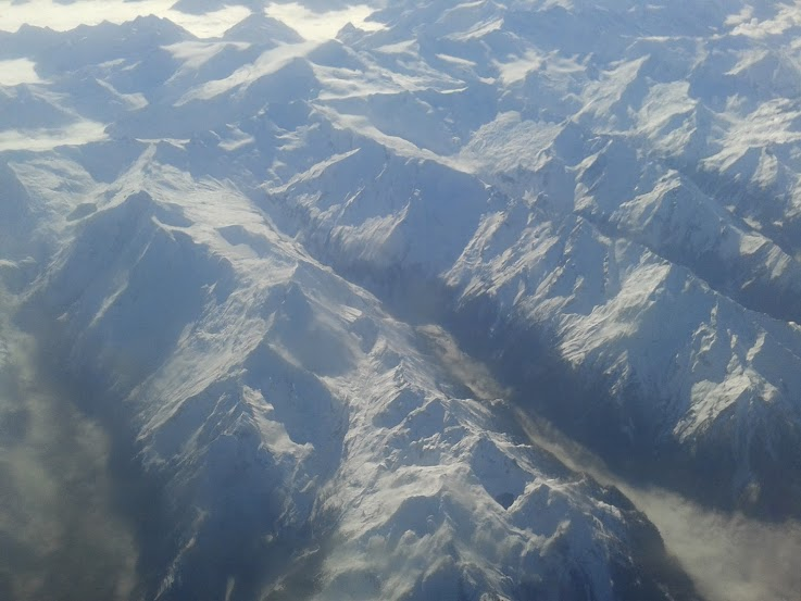 The snow capped peaks of the Alps