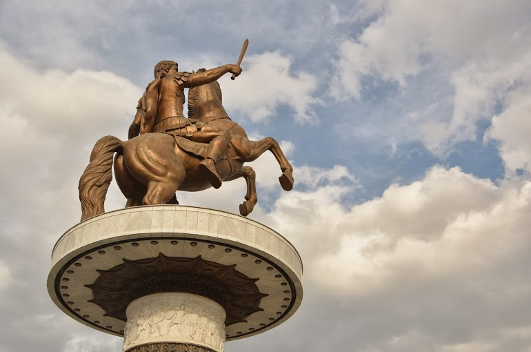 The massive statue of Alexander the Great ahorse.