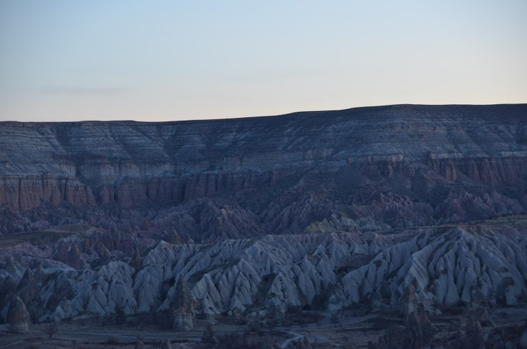 The very early morning light against the ridges of Cappadocia.