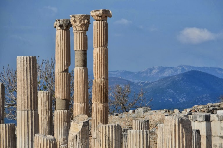 Restored columns backed by mountains