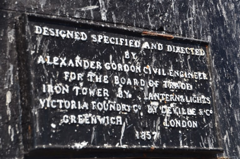 The builders' plaque on the lighthouse
