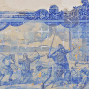 Lisbon is famous for its blue tiles. This piece is located on a small public terrace overlooking the harbour.