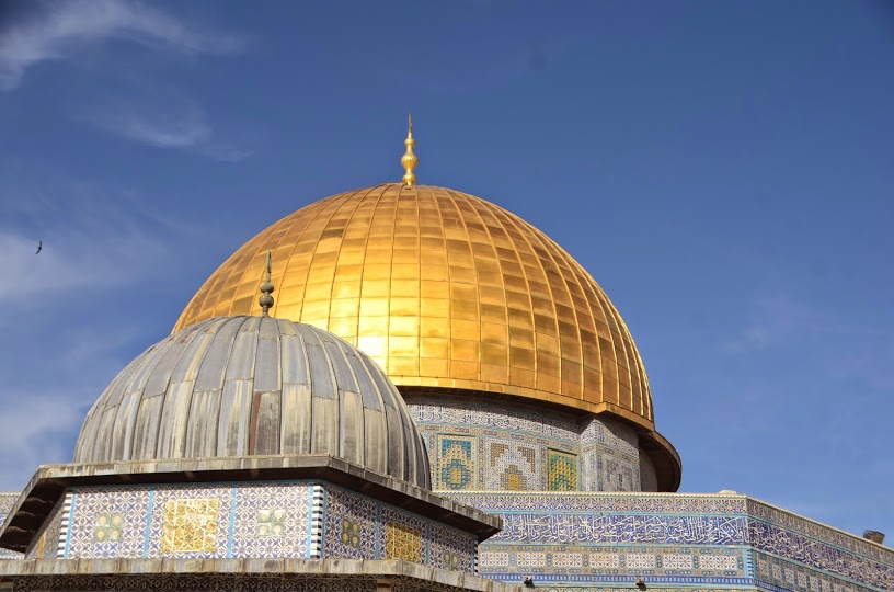 The golden dome of the Dome of the Rock