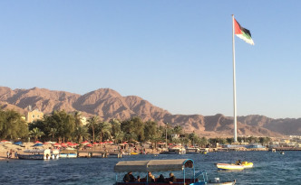 The 130 metre tall Aqaba Flagpole
